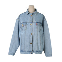 Loose Denim Buttoned Front Jacket