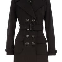 Black belted trench coat - New In Clothing  - What's New  - Dorothy Perkins