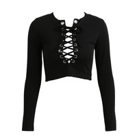 Fall Sexy Women Knitted Crop Top Cross Lace-Up Plunge V Neck Short Sweater Long Sleeve Ribbed Slim Knitwear Knitting Top SM6