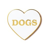 I Heart Dogs Pin - White