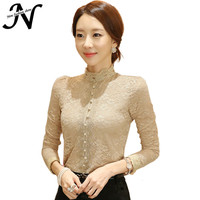 Lace Women Blouses Long Sleeve 2016 Casual Spring Autumn High Collar Crochet Lace Floral Blouses Korean Style Ladies Tops 3143