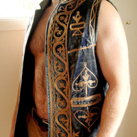 Vintage. 1960's RARE Blue Velvet Embroidered Vest. Jimi Hendrix Style. Rocker. Woodstock. Men's. Unisex. Medium. Large.