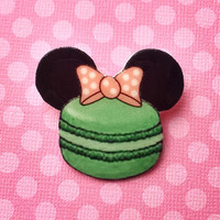 "Handmade ""Macaron Minnie"" Minnie Mouse Mint and Pink Macaroon Brooch - Disney Paris"