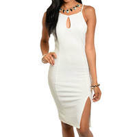 Key Hole Side Slit Glitter Midi Dress in Ivory