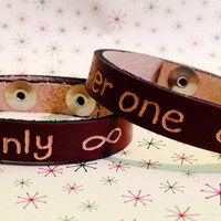 Matching Bracelets For Couples, Personalized Leather Bracelet, Engraved Couples Bracelet, Her One His Only Bracelet
