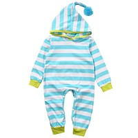 Newborn Baby Boy Girl Clothes Long Sleeve Striped Hooded Romper Jumpsuit Outfits Playsuit