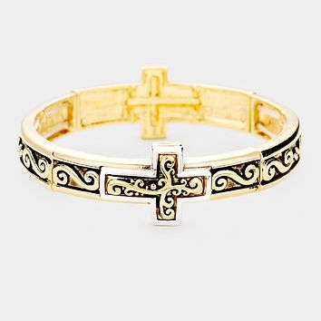 Cross Metal Filigree Stretch Bracelet