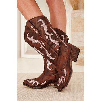 Country Feels Glitter Cowgirl Boots (Brown)