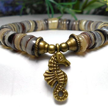 Shell Bracelet with Sea Horse Charm