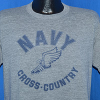 80s Navy Cross-Country Rayon Tri Blend t-shirt Large