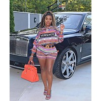 VERSACE Newest Hot Sale Women Casual Long Sleeve Top Shorts Set Two-Piece