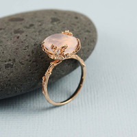 Pink Gold Oval Rose Quartz Ring by tooriginal on Etsy