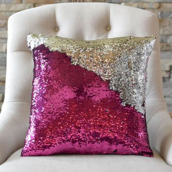 Fuchsia Pink & Silver Sequin Mermaid Pillow Cover *Limited Edition*
