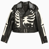 Black Leather Biker Jacket With Skeleton Print - Choies.com