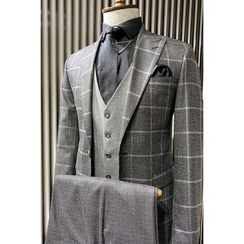 Grey Checked Suit Set