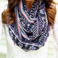 Boho Purple and Black Infinity Scarf