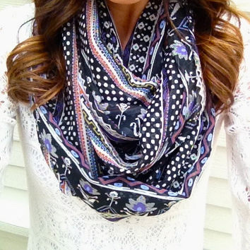 Boho Print Infintiy Scarf in Purple and Black