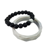 Silicone Teething Bracelet Set for Moms - Black and Marble