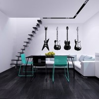 Four Guitars Musical Instrument Decor Recording Music Studio Wall Vinyl Decal Art Sticker Home Modern Stylish Interior Decor for Any Room Smooth and Flat Surfaces Housewares Murals Design Graphic Bedroom Living Room (4062)