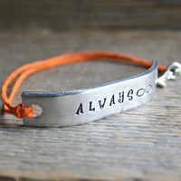 Friendship Bracelet One ALWAYS Hand Stamped Quote With Lobster Clasp Hemp Cord Couples Bracelet Jewelry Custom Personalized
