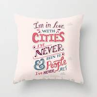 Paper Towns: Cities and People Throw Pillow by Risa Rodil