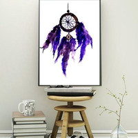 Dream catcher, Printable Wall decor, bohemian decals, painting, watercolor illustration, minimalist, gypsy, travel, Scandinavian chic modern