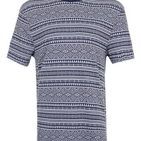 Blue Aztec Textured T-Shirt - New This Week - New In - TOPMAN USA
