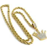 Pendant Gold Plated Iced Out Crown Dimond 24 Inch