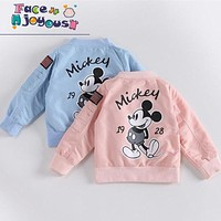 Baby Clothes Cartoon Mickey Pattern Girls Boys Jackets Coats Toddler Kids Jacket Outwear Baseball Windproof Children Clothes