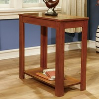 Walnut finish wood rectangular chair side end table with lower shelf