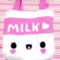 New Colors - Milk Tote Bag - Cute Schoolbag , Kawaii Backpack , Available in Brown