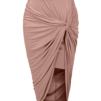 Asymmetrical Banded Waist Wrap Cut Out Hi Low Maxi Skirt