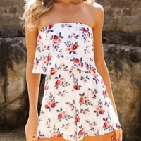 White Floral Bandeau Layered Top Romper Playsuit