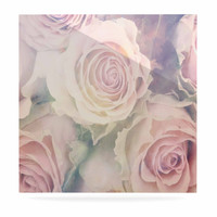 "Suzanne Carter ""Faded Beauty"" Blush Floral Luxe Square Panel"