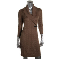 Calvin Klein Womens Cable Knit 3/4 Sleeves Sweaterdress