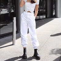 Women Simple All-match Solid Color Loose High Waist Leisure Pants Trousers Harlan Pants