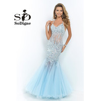 Sexy Sparkly Long Mermaid Prom Dresses 2015 Halter Open Back Shining Formal Party Dresses with Beads Crystals Rhinstones