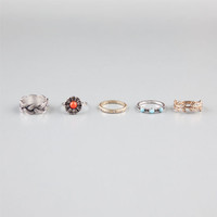 Full Tilt 5 Piece Flower/Leaf/Braid Rings Metal