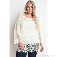Crochet Knit Tunic Top
