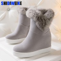2018 winter snow boots high quality fashion fur women boots fashion flock height height increasing ankle boots n210