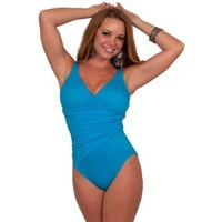 Women's Slimming One Piece Bathing Suit Ruched Swimwear Stretch Panel Swimsuit