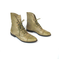 1980s Lace Up Ankle Boots Taupe Leather Boots Cuffed Ankle Boots Leather Pixie Boots Grunge Hipster Hiking Pointy Toe Fall Boots Size 8