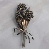 CORO Large Sterling Craft Flower Bouquet Brooch 1940s Silver Vintage Jewelry