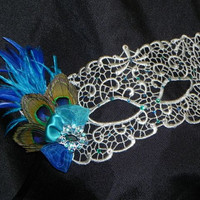 Silver Lace Mask with Peacock Feather, Turquoise and Royal Blue Accents