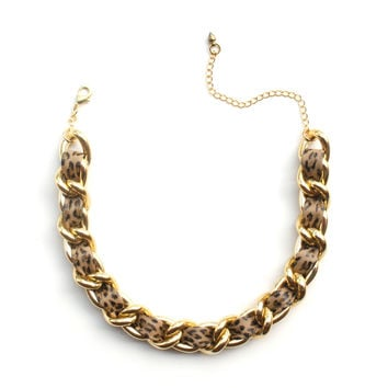 Leopard print leather and chain choker necklace