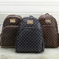 *Louis Vuitton*  Women Leather Fashion School Bag Cowhide Leather Backpack