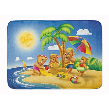 Bears Playing at the Beach Machine Washable Memory Foam Mat APH0375RUG