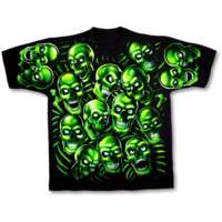 Green Skull Pile Tee Shirt - ST-31733 by Medieval Collectibles