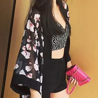 Casual Floral Hollow Out Kimono