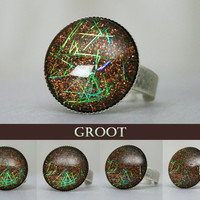 Groot Inspired Color Shifting Antique Silver Ring